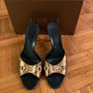 Bronze Metallic Gucci Mules